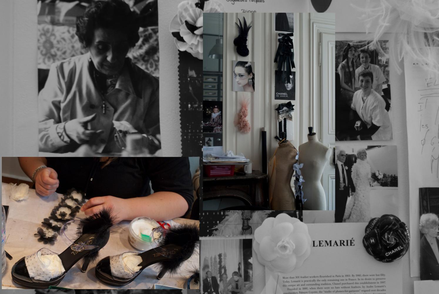 Sur les murs des ateliers, photos, camélias évoquent la maison mère de Lemarié, Chanel, et sa fondatrice. Paris, février 2009.